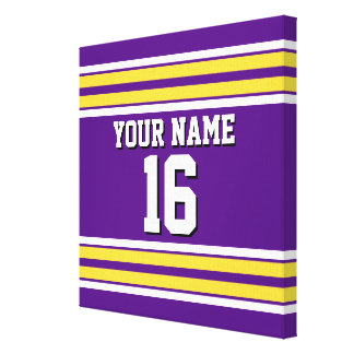 Purple with Yellow White Stripes Team Jersey Canvas Print