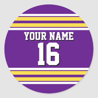Purple with Yellow White Stripes Team Jersey Classic Round Sticker