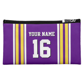Purple with Yellow White Stripes Team Jersey Cosmetic Bag