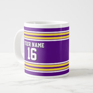 Purple with Yellow White Stripes Team Jersey Large Coffee Mug