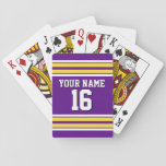 "Purple with Yellow White Stripes Team Jersey Playing Cards<br><div class=""desc"">Preppy Sporty Purple with Pineapple Yellow and White Stripes Team Jersey / Sports Jersey / Football Jersey with Custom Name, Custom Number Customize this with your own name or team name and a number. You can change the size, color and placement of the text if you need to make changes,...</div>"