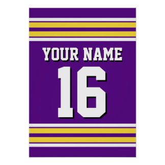 Purple with Yellow White Stripes Team Jersey Poster