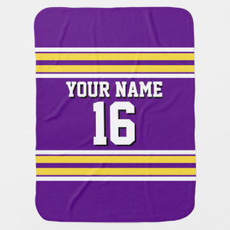 Purple with Yellow White Stripes Team Jersey Receiving Blanket