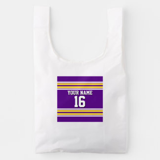 Purple with Yellow White Stripes Team Jersey Reusable Bag