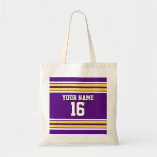 Purple with Yellow White Stripes Team Jersey Tote Bag