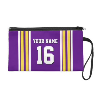 Purple with Yellow White Stripes Team Jersey Wristlet