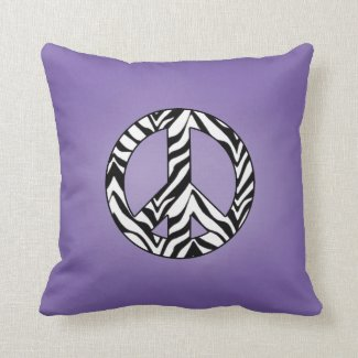 Purple With Zebra Peace Sign Pillow