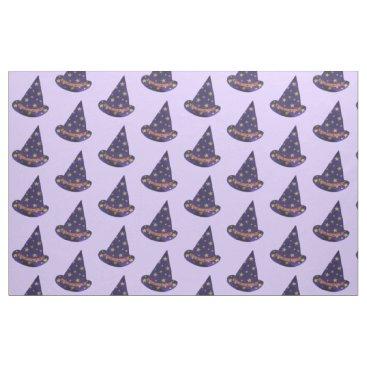 Halloween Themed Purple Wizard Hat Yellow Stars Halloween Fabric