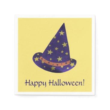 Halloween Themed Purple Wizard Hat Yellow Stars Halloween Napkins