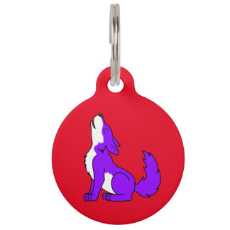 Purple Wolf Pup Howling Pet ID Tag