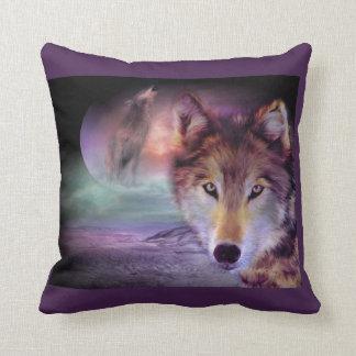Purple Wolf Throw Pillow