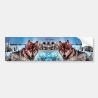 Purple Wolf With Yellow Eyes In Winter Painting Bumper Sticker