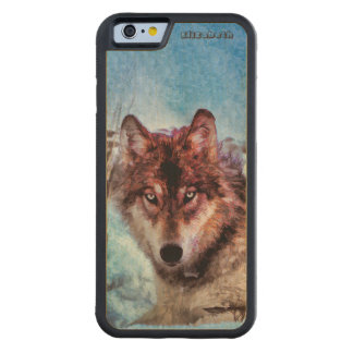 Purple Wolf With Yellow Eyes In Winter Painting Carved Maple iPhone 6 Bumper Case
