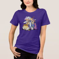 Purple Women's Plus Size Halloween Shirts - Witch