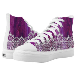 Purple wood and floral Indian white lace High-Top Sneakers