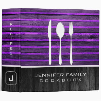 Purple Wood Look Family Cookbook Binder