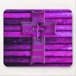 Purple Wooden Cross Mouse Pad