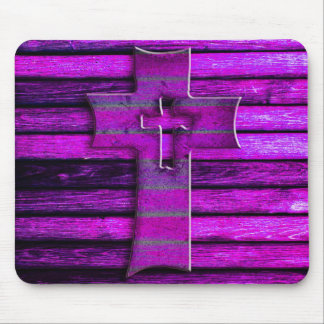 Purple Wooden Cross Mouse Pad