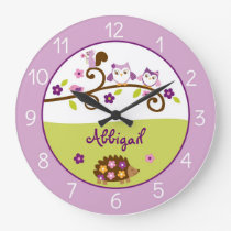 Purple Woodland Animal Nursery Large Clock