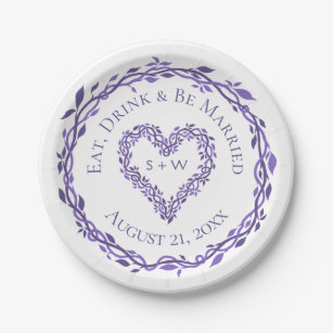 Purple Woodsy Wedding Heart Wreath Decorative Paper Plate