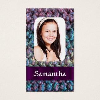 Purple wool photo template business card