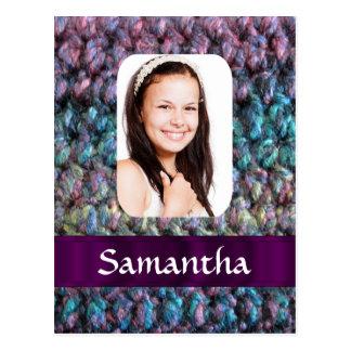 Purple wool photo template postcard