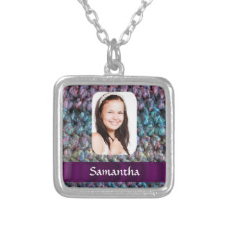 Purple wool photo template silver plated necklace