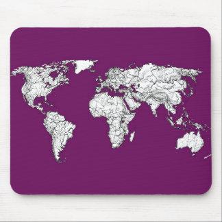 Purple world map mouse pad