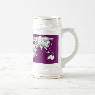 Purple world map mug