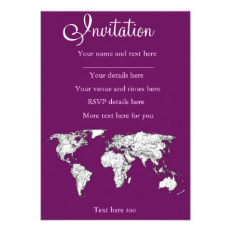 Purple world map personalized announcements