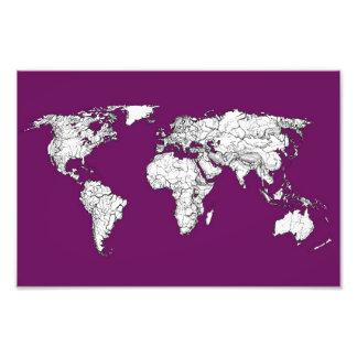 Purple world map photograph
