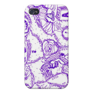 Purple world- purple ink drawing of multiple items iPhone 4/4S cover