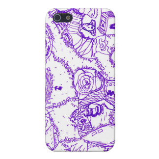 Purple world- purple ink drawing of multiple items iPhone 5 cover
