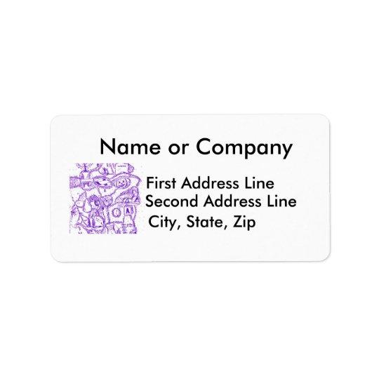 Purple world- purple ink drawing of multiple items label
