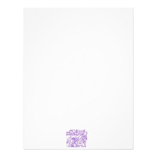 Purple world- purple ink drawing of multiple items letterhead