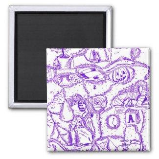 Purple world- purple ink drawing of multiple items magnet