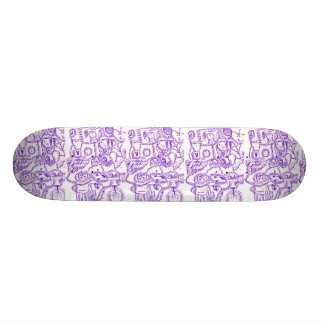 Purple world- purple ink drawing of multiple items skateboard
