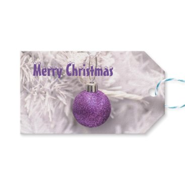 Christmas Themed Purple xmas bauble christmas holiday gift tags