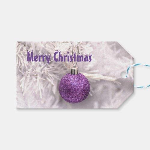 Purple xmas bauble christmas holiday gift tags