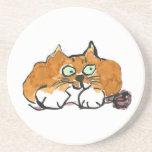 Purple Yarn and a Fiesty Orange Cat Drink Coaster