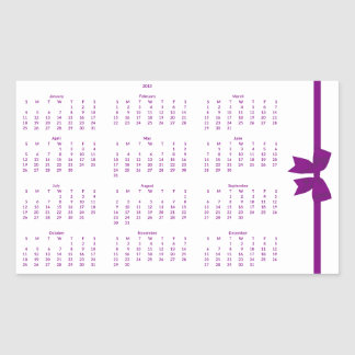 Purple Yearly Calendar 2015 Rectangle Stickers