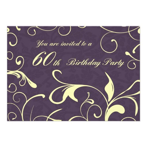 Purple Yellow 60th Birthday Party Invitation Cards