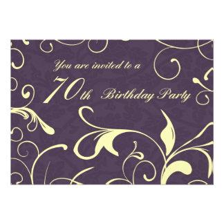 Purple Yellow 70th Birthday Party Invitation Cards
