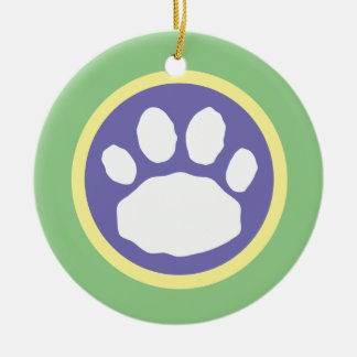 Purple, Yellow and Green Paw Print Easter Ceramic Ornament