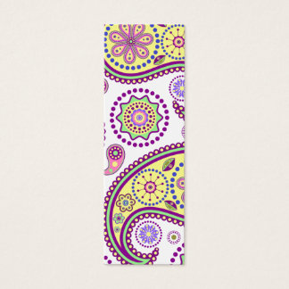 Purple, yellow and pink paisley mini business card