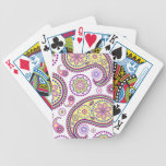 Purple, yellow and pink paisley poker cards