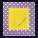 """Purple Yellow and White Polka Dot Personalized Bandana<br><div class=""""desc"""">Cute white polka dots on purple with a yellow and white polka dot square that you an personalize with your choice of name or special text.</div>"""