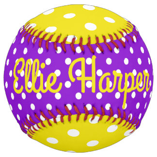 Purple Yellow and White Polka Dot Personalized Softball