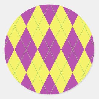 Purple & Yellow Argyle Classic Round Sticker