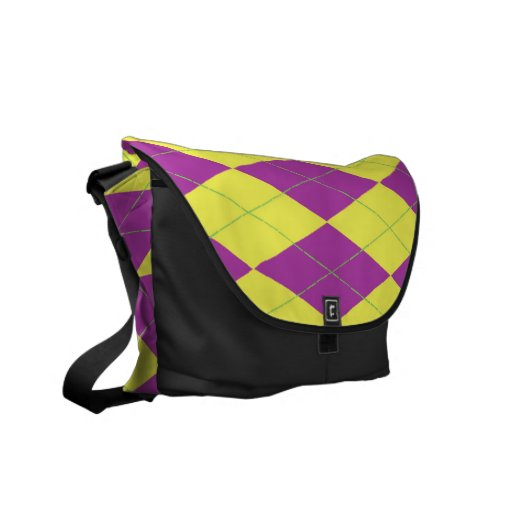 Purple & Yellow Argyle Courier Bags